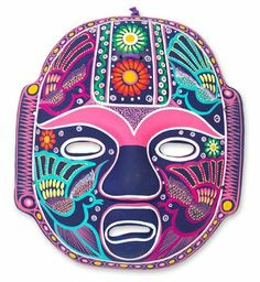 Ceramic mask, 'Carnival Olmeca' by NOVICA. $47.95. Handmade by Eufrosia Pantaleon. Normally ships directly from Mexico within 10 days.. Hand-crafted item -- color, size and/or motif may vary slightly. A fair trade product. NOVICA, in association with National Geographic, searches the world to work directly with the finest artisan designers. Similar to the legendary Olmeca head, this colorful mask celebrates Mexico's unique flora and fauna. Eufrosia Pantaleon paints ...
