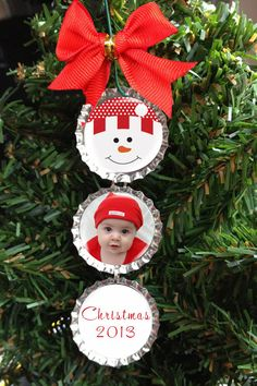 """Custom """"Your Photo"""" Snowman Christmas Tree Ornament Bottle Cap Holiday Personalized Decoration - Red"""