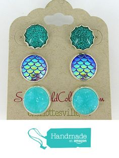 Trio Silver-Tone Stud Earrings Aqua Blue Faux Druzy Stone Mermaid Scale Glitter from Summerfield Collection https://www.amazon.com/dp/B01MUHOWLC/ref=hnd_sw_r_pi_dp_QmnLybKSRPM2E #handmadeatamazon