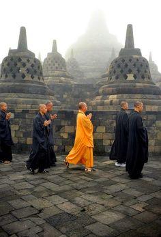 The Orange Vesak ceremony in the morning, borobudur temple, Bali, by Noor Eva Bali Lombok, Temple De Borobudur, Kuala Lumpur, Laos, Travel Around The World, Around The Worlds, Yogyakarta, Maldives, Southeast Asia