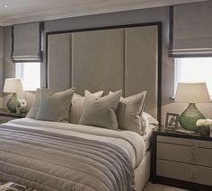 Master bedroom at the Esher project #bedroom #bed #headboard #interiors #SophiePatersonInteriors