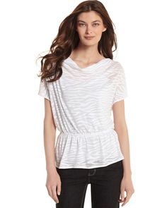 """SHEER ZEBRA DRAPED TOP  STYLE: 570055388  Overall Rating   4.4 / 5  read all 8 reviews  write a review  Zebra stripes are mere shadows on a whisper-light devoré textured top. 64% Polyester, 36% Cotton. Machine wash, cold; lay flat to dry. Imported.  Pullover style; bloused fit.  Draped neckline. Short dolman sleeves. Elastic lets you blouse the knit above a peplum hem.  Hits at lower hip (25"""" from shoulder)."""
