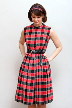 1950s vintage red and black sleeveless plaid by HopscotchandSoda, $120.00