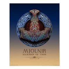 """Mjolnir - affiche du marteau du Thor (16x20"""")"""