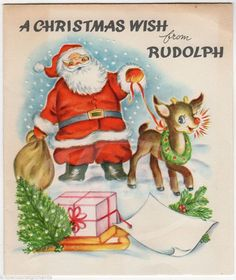 Santa Claus & Rudolph the Red Nosed Reindeer Vintage Graphic Art Christmas Card Christmas Card Images, Vintage Christmas Images, Christmas Graphics, Old Christmas, Old Fashioned Christmas, Retro Christmas, Vintage Holiday, Christmas Greeting Cards, Christmas Wishes