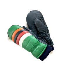 Vintage Men's Ski Mittens Leather Mittens Ski Gloves by ModernDuds