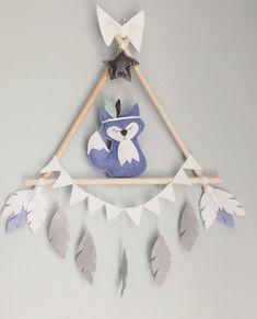 Mister Fox wall decoration! #handmade#sewing#home#decor#baby#nursery#fox#triangledecor#felt#feltdecor Baby Crafts, Felt Crafts, Diy And Crafts, Baby Decor, Nursery Decor, Room Decor, Paper Party Decorations, Wild One Birthday Party, Creation Deco