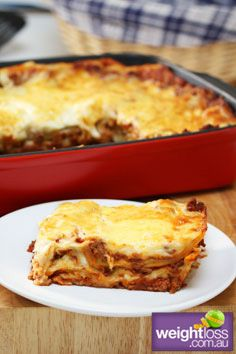 Healthy Dinner Recipes: Low Fat Traditional Lasagne. #HealthyRecipes #DietRecipes #WeightlossRecipes weightloss.com.au