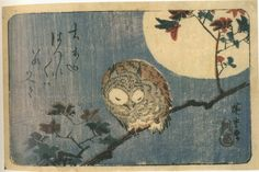"Owl on Maple Branch in the Full Moon"" 1832, Hiroshige"