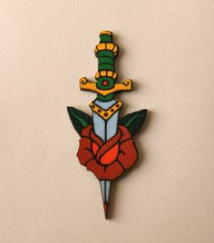 Wooden Tattoo Style Rose and Dagger Brooch by TheRowanTreeOnline