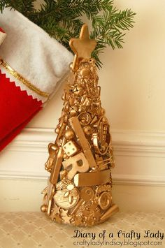 Make a mini-I Spy tree out of old toys... glue them on a cone, spray paint it and have fun hunting.
