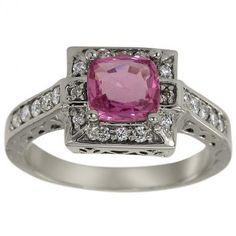1.18ct Princess Cut Pink Sapphire In Antique 10Kt | http://www.cybermarket24.com/1-18ct-princess-cut-pink-sapphire-in-antique-10kt/