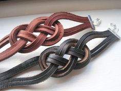 Nautical Brown Leather Sailor Knot Bracelet by knottysailorItems similar to Nautical Black Leather Sailor Knot Bracelet on Etsy Sailor Knot Bracelet, Bracelet Knots, Paracord Bracelets, Bracelets For Men, Diy Leather Bracelet, Leather Cuffs, Leather Jewelry, Black Leather, Leather Jackets