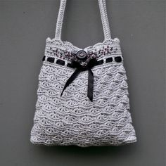 Grey Crochet Purse  - PDF PATTERN - Permission to Sell Finished Items