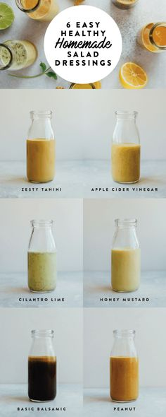 6 HEALTHY homemade salad dressings that are super easy to make — from a basic balsamic vinaigrette to peanut, honey mustard and cilantro lime, these delicious dressings will take your salads to the next level. All dressings are gluten-free, vegan-friendly and paleo-friendly.  #saladeveryday Homemade Healthy Salad Dressing, Homemade Salad Dressings, Keto Salad Dressing, Fat Free Salad Dressing Recipe, Healthy Salad Dressings, Sugar Free Salad Dressing, Vegan Dressings, Tahini Dressing, Peanut Dressing
