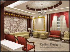 Luxury gypsum pop ceiling designs for luxury living room