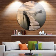 Designart 'Carrasqueira Old Wooden Pier' Seashore Photo Round Wall Art