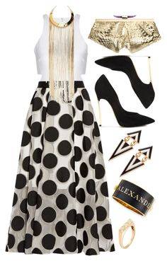 """Gold + Black"" by cherieaustin on Polyvore featuring Elizabeth and James, Lela Rose, Casadei, Balmain and Alexander McQueen"