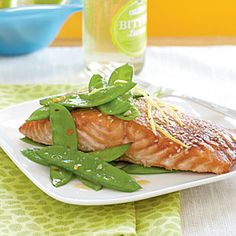 Salmon with Hoisin Glaze Recipe; Garlicky Spicy Snow Peas