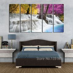 Wall Decor Painting Calligraphy Modern Landscape Paintings COLOR FANTASY Forest Waterfall Art Decorative Canvas Prints No Frame