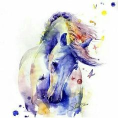 horse, watercolor, drawing, painting, butterfly | drawings | Pinterest