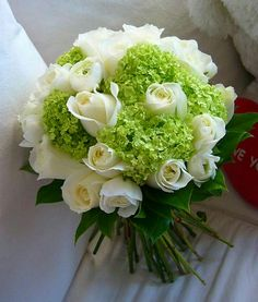 Hand Tied Wedding Bouquet Comprised Of: White Roses, Green Snowball Viburnum, Green Foliage