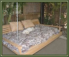 Teen Girl Bedrooms - Cypress Porch SWING BED 6 ft With Heavy Duty galvanized CHAIN set and made from Rotresistant Cypress Eternal Wood Made in the USA Green Furniture GO GREEN * Continue to the item at the picture link. (This is an affiliate link). Diy Swing, Patio Swing, Swing Beds, Porch Swings, Outdoor Swings, Bed Swings, Patio Bed, Outdoor Daybed, Outdoor Fire