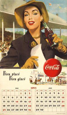 "Coca-Cola calendar, ""Bien placé, bien glacé"", 1953"