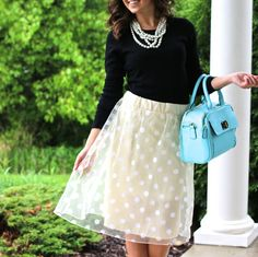 Only $9.99! | This sweet, sheer, ivory polka dot layered tulle skirt is the perfect find for summer! For a night out with your hubby or girlfriends, or a day shopping and lunching, you will look and feel great no matter the occasion. | Find it now at www.groopdealz.com