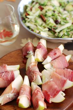 thanksgiving eats: prosciutto and blue cheese wrapped pears #thanksgiving #theeverygirl