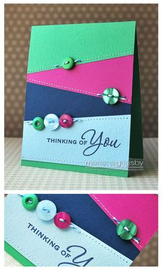 Mariana Grigsby - love the solid lines and buttons and the simplicity! - love these colors! Cool Cards, Diy Cards, Sympathy Cards, Greeting Cards, Button Cards, Get Well Cards, Paper Cards, Creative Cards, Scrapbook Cards