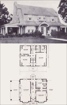 The Jefferson - 1923 Standard Homes Company- House Plans of the 1920s - Dutch Colonial Revival