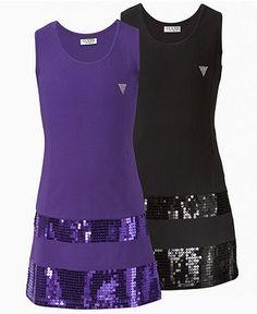 Guess Kids Dress, Girls Sequin Trim Tank Dress - Kids Girls 7-16 - Macy's
