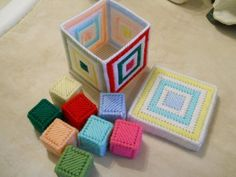 Plastic Canvas Baby Blocks by Irishkitten on Etsy, $7.00