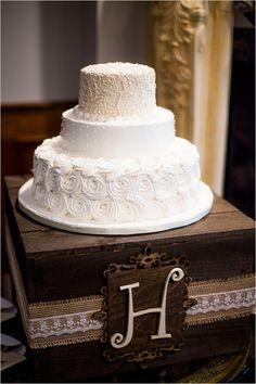 Rustic white wedding cake.