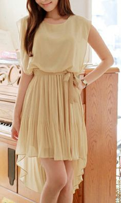 Sleeveless chiffon hi-low dress in beige with elasticized waist. #Chiffon #Dress