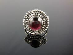 Garnet Gemstone Sterling Silver Ring - Size 6.25