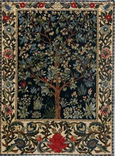 Reproduction of Tree of Life Tapestry by William Morris & Co. Title : William Morris' Tree of Life. William Morris lived near London from 1834 to William Morris, Tapestry Weaving, Tapestry Wall Hanging, Tree Of Life Tapestry, Medieval Tapestry, Medieval Art, Large Tapestries, Tapestry Design, Arts And Crafts Movement