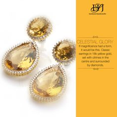 Celestial Glory If magnificence had a form, it would be this. Classic earrings in 18k yellow gold, set with citrines in the centre and surrounded by diamonds.