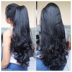 47 Ideas Hair Goals Color Pony Tails For 2019 Long Black Hair, Long Layered Hair, Very Long Hair, Dark Hair, Beautiful Long Hair, Gorgeous Hair, Haircuts For Long Hair, Straight Hairstyles, Hair Goals Color