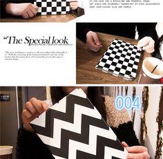Schwarzen und weißen Streifen Nachtleuchtende Leder Schutz Case für ipad mini, ipad 2/3/4, ipad airund ipad air 2 - Prima-Module.Com