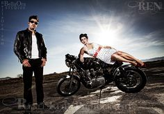 Vintage Pin-Up Motorcycle Couple by Ren (photo), via Flickr