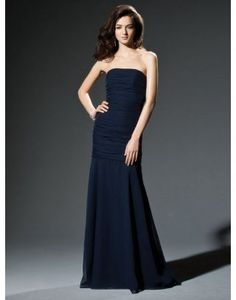 Chiffon Strapless Wrap Long Bridesmaid Dress
