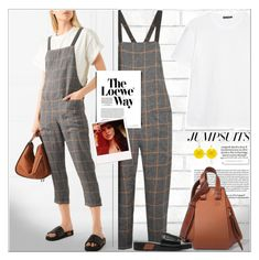 """""""One and Done: Jumpsuits"""" by alves-nogueira ❤ liked on Polyvore featuring Tempaper, Acne Studios, Brunello Cucinelli, Loewe, Oscar de la Renta, jumpsuits, contestentry and polyvoreeditorial"""