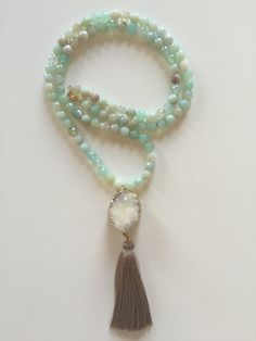 Long Mint Aqua Banded Agate Bead and White Druzy Boho Beaded Necklace with Tan Silk Tassel