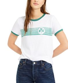 $23.7. LUCKY BRAND Top Clover Stripes Ringer T-Shirt #luckybrand #top #t-shirt #clothing Lucky Brand Tops, Gingham, Nordstrom, Stripes, Clothes For Women, Clothing, Cotton, T Shirt, Fashion