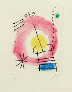 Artwork by Joan Miró, Album B Feuilles éparses: Print Three (C. 125; D. 121), Made of etching with extensive hand-coloring