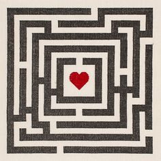 Love Maze modern cross stitch pattern pdf by HipstitchCrossStitch
