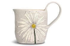 this will look so pretty on a shelf :) ceramic jug with flower design