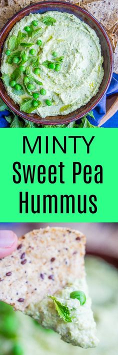 This Minty Sweet Pea Hummus is a healthy, refreshing and seasonal twist on the classic!  Great for a dip or to put on sandwiches and salads!  Gluten free and vegan